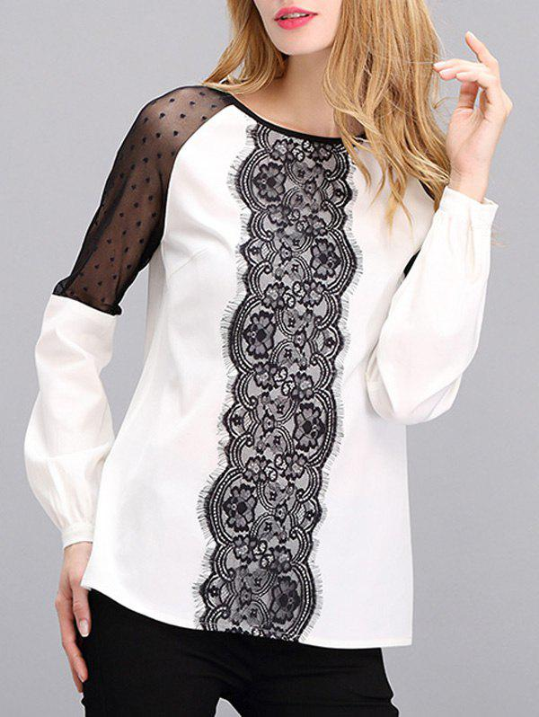 Mesh Lace Spliced Mesh Blouse - WHITE/BLACK S