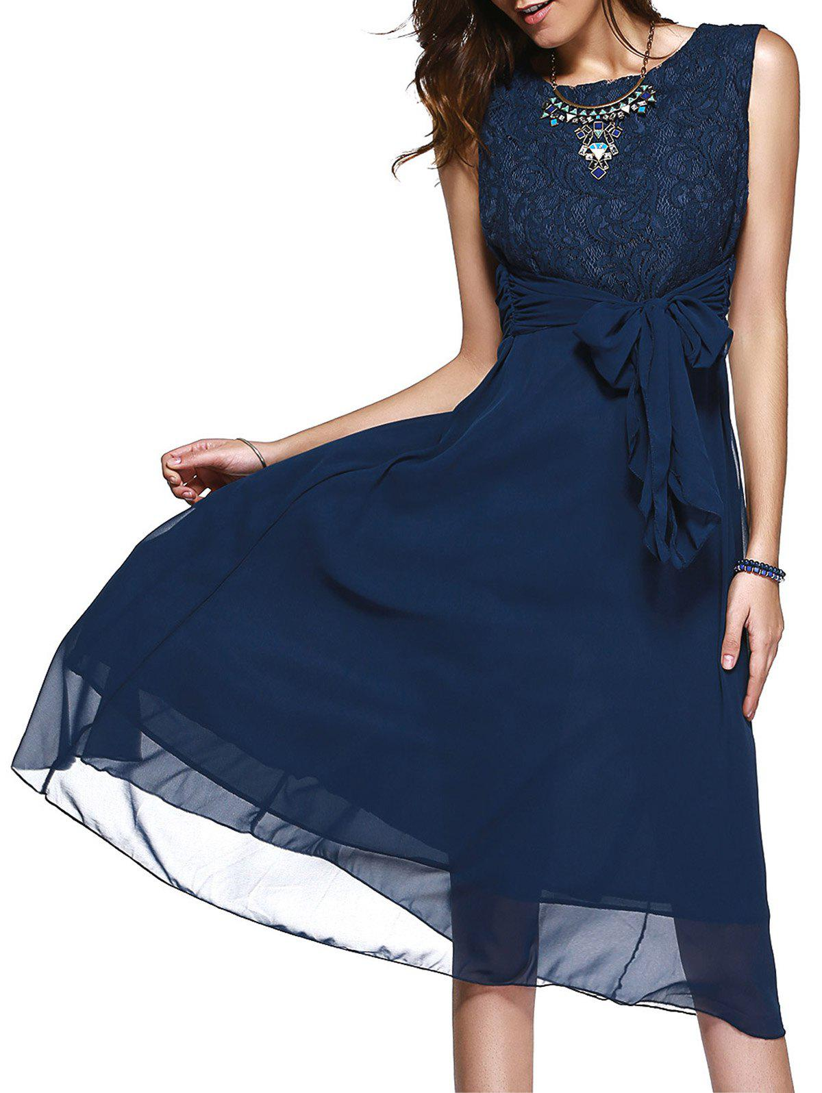 Lace Inset Chiffon A Line Swing Midi Dress - PURPLISH BLUE 2XL