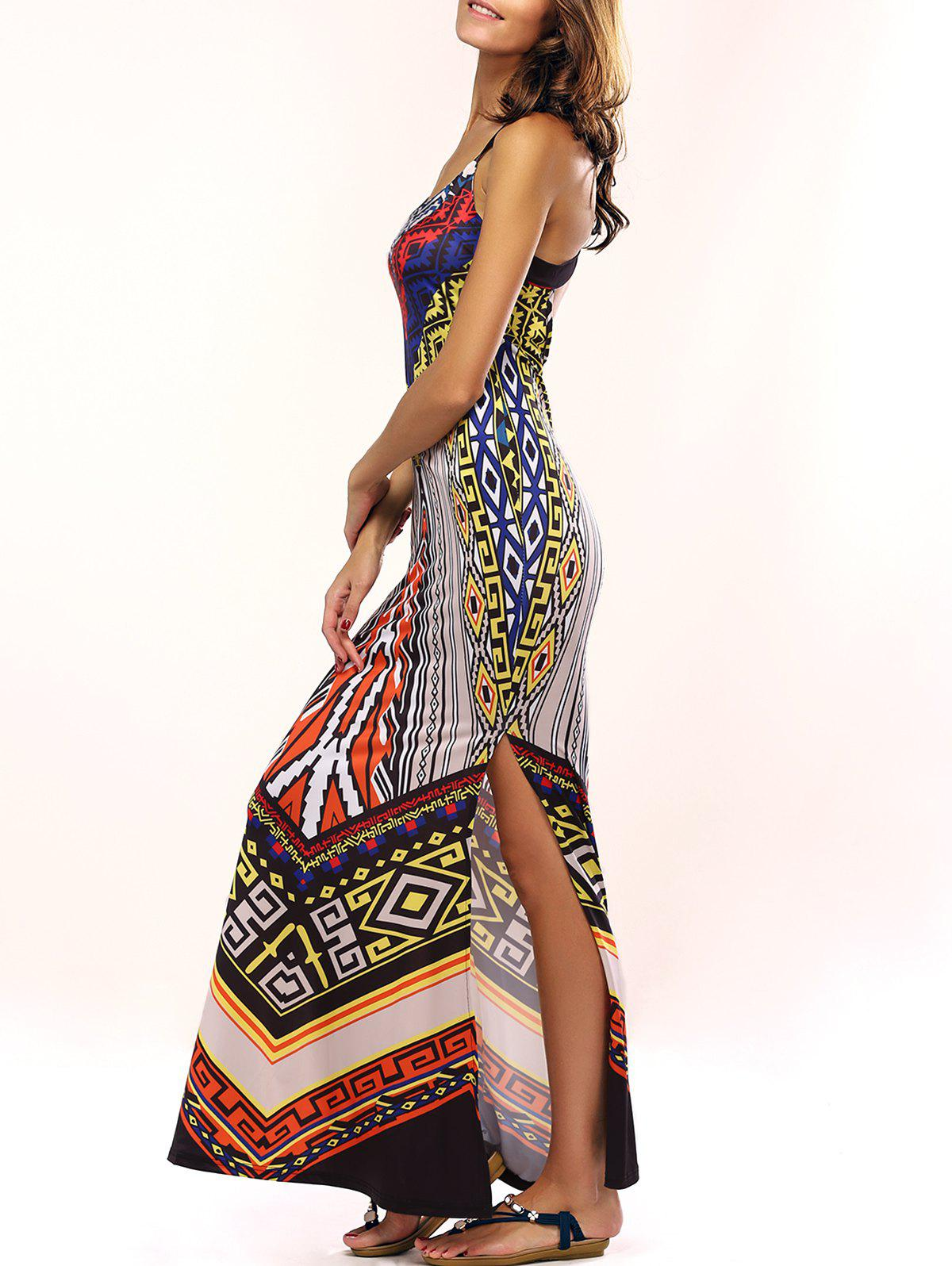 Stylish Crossback Ethnic Print Dress For Women - COLORMIX S