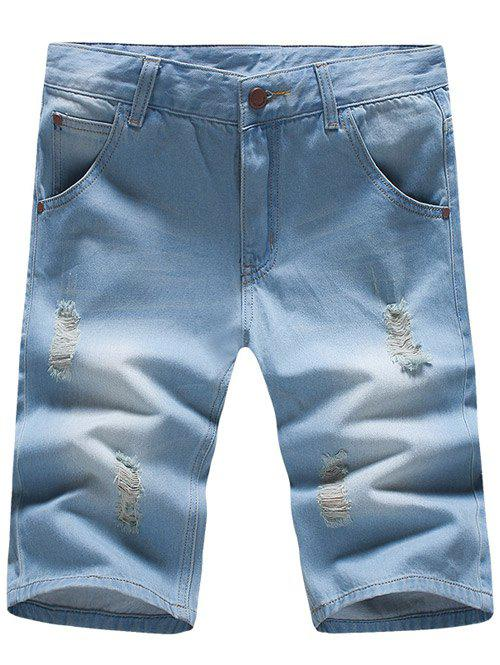 Stylish Slim Fit Light Wash Denim Shorts For Men - LIGHT BLUE 36