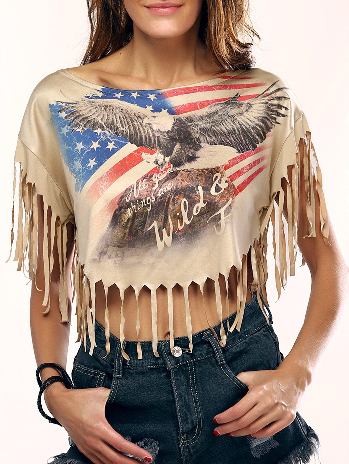 Chic Eagle Print Fringed Crop Top For Women - LIGHT KHAKI XL