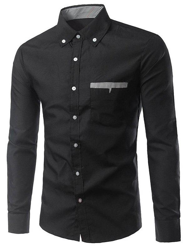 Trendy Plaid Spliced Slim Fit Long Sleeve Black Shirt For Men