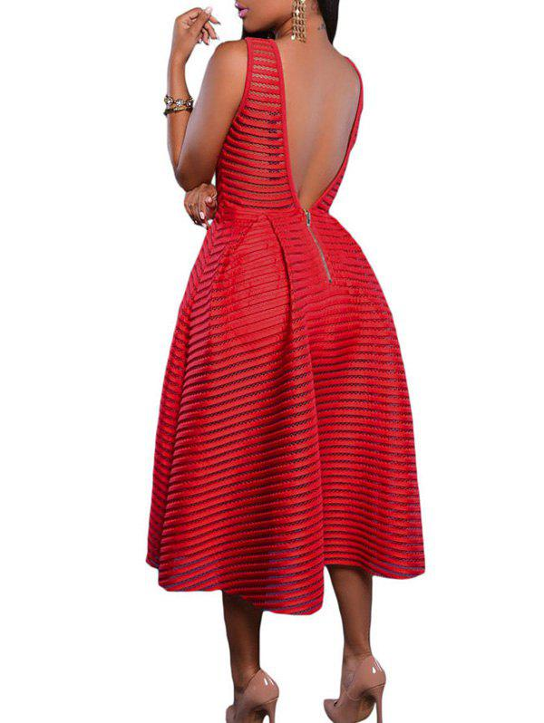 Jewel Neck Backless Midi Dress - RED L