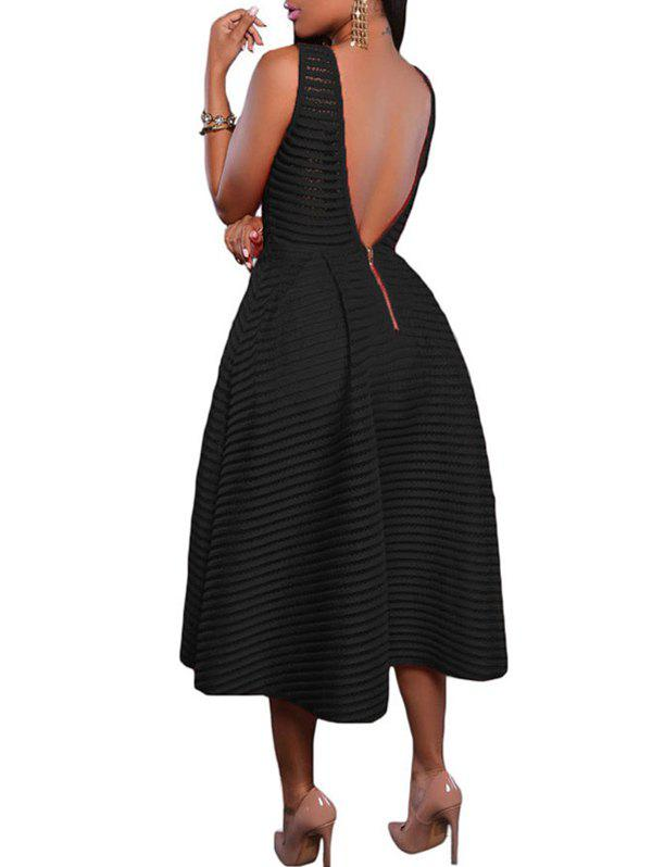 Jewel Neck Backless Midi Dress - BLACK S
