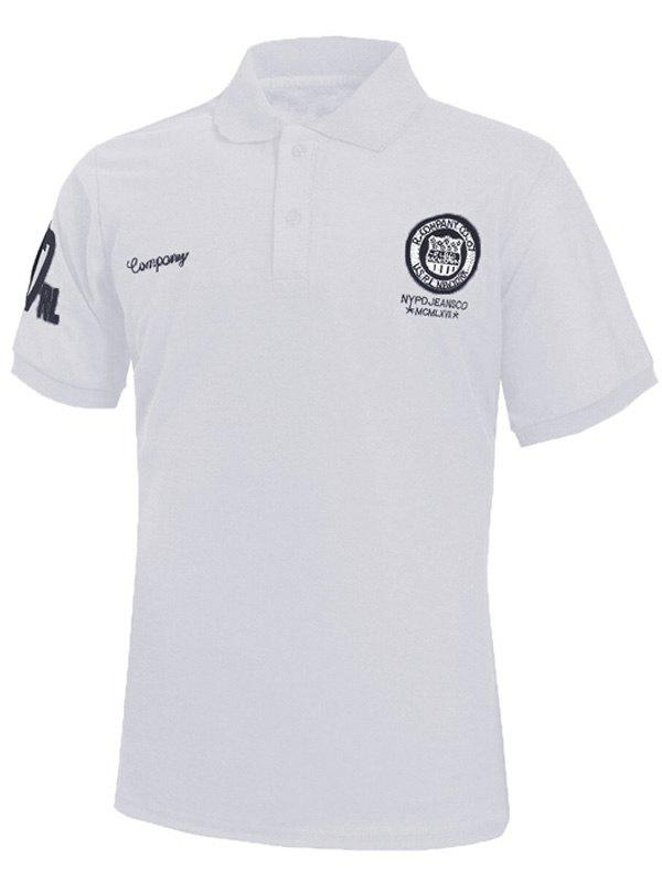 Turn-Down Collar Embroidery Design Short Sleeve Men's Polo T-Shirt - WHITE 5XL