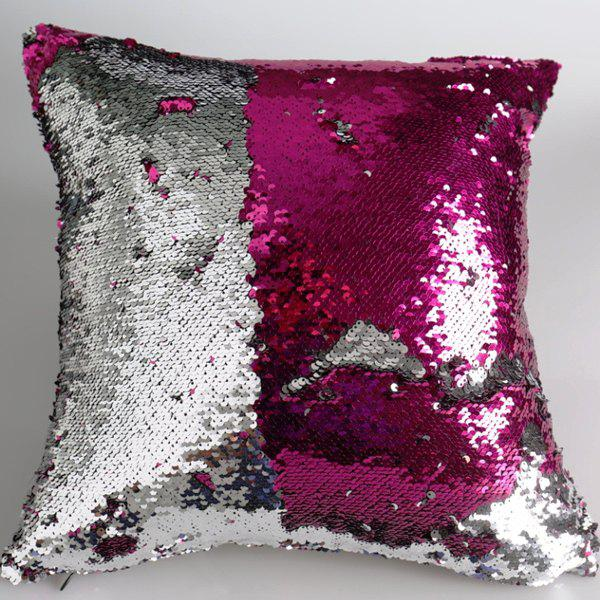 Creative DIY Pattern Rose Red Silvery Two Tone Sequins Pillow Case - ROSE MADDER