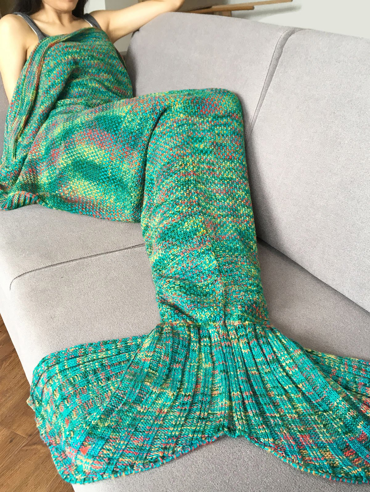 Super Soft Crochet Knitted Fashion Mermaid Tail Shape Blanket For Adult 195x95cm yarn knitted mermaid tail blanket super soft sleeping bed handmade crochet portable blanket for autumn winter