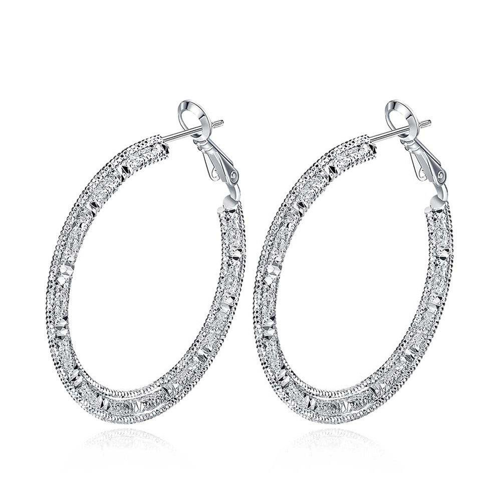Pair of Trendy Hollow Out Carved Alloy Hoop Earrings For Women - SILVER