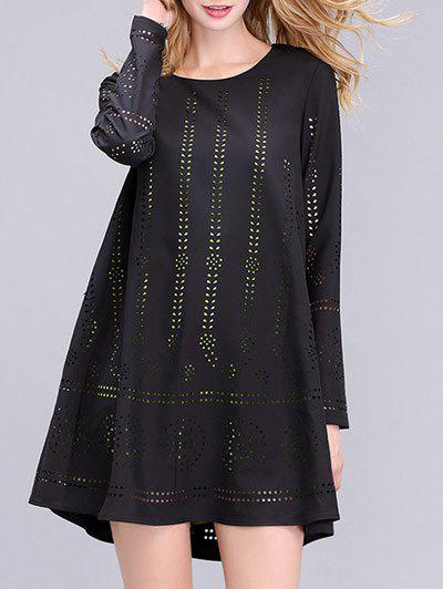Trendy Long Sleeve Hollow Out Double-Layered Womens DressWomen<br><br><br>Size: 2XL<br>Color: BLACK