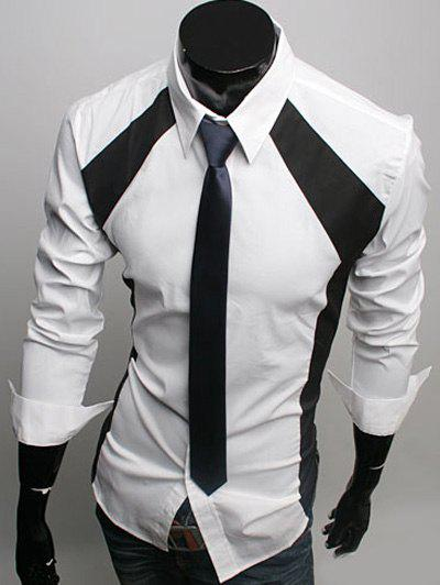 Color Block Spliced Slimming Turn-Down Collar Long Sleeve Men's Shirt - WHITE 2XL
