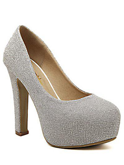 Trendy Platform and Chunky Heel Design Women's Pumps - SILVER 37