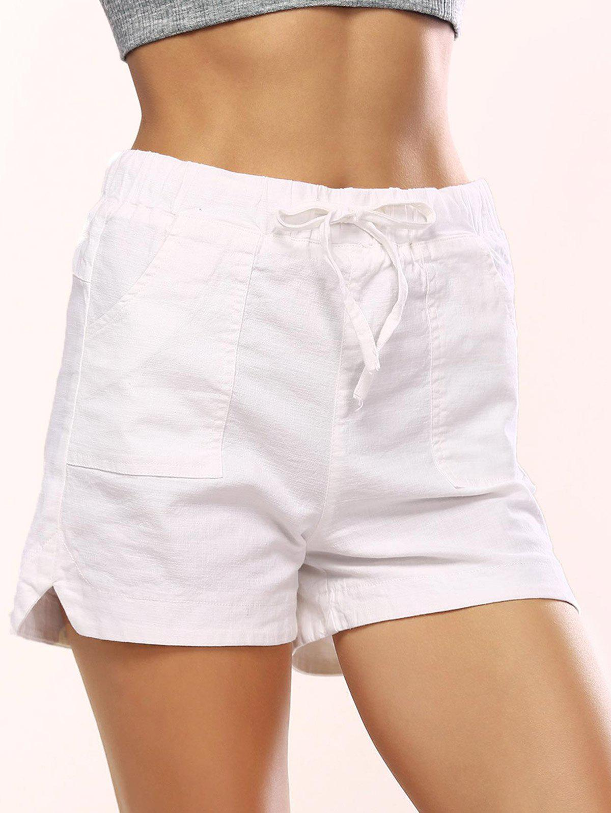Drawstring Pocket Design Shorts - WHITE L