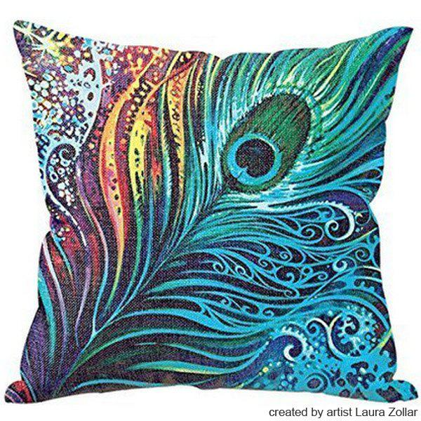 High Quality Colorful Peacock Feather Pattern Art From Laura Zollar Flax Pillow Case(Without Pillow Inner)