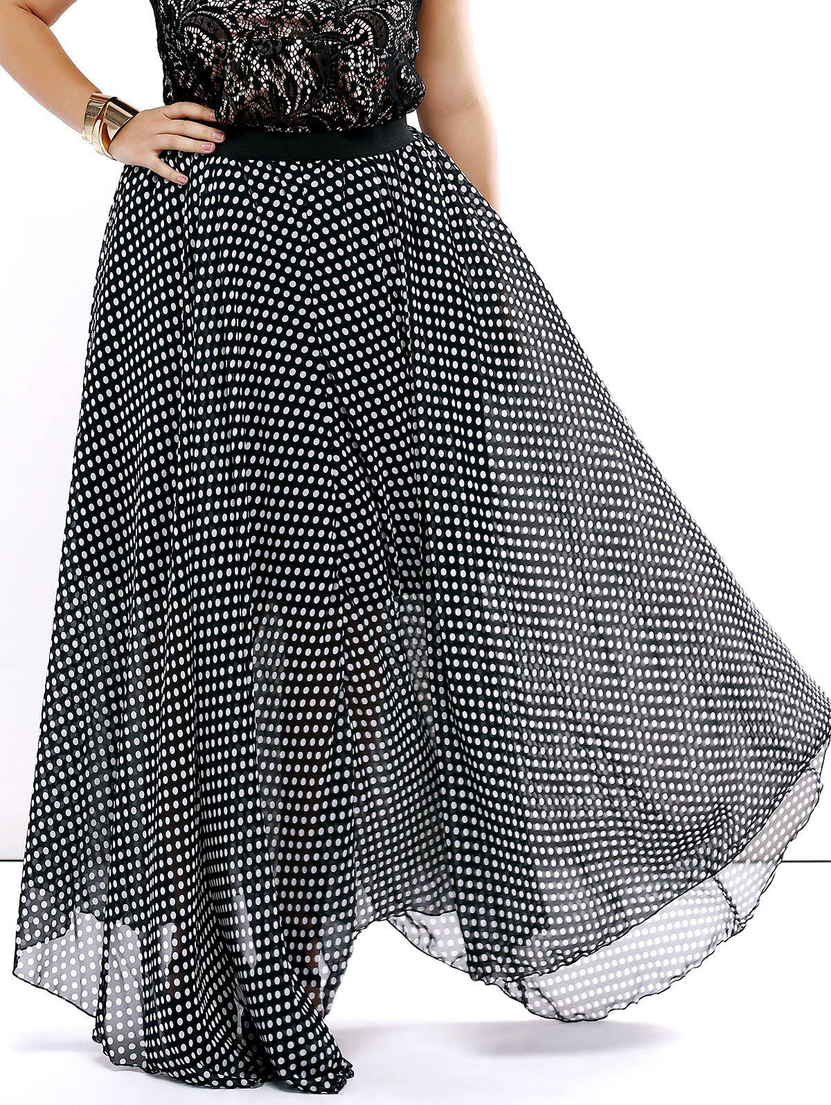 Flowing Polka Dot Chiffon Skirt - BLACK 2XL