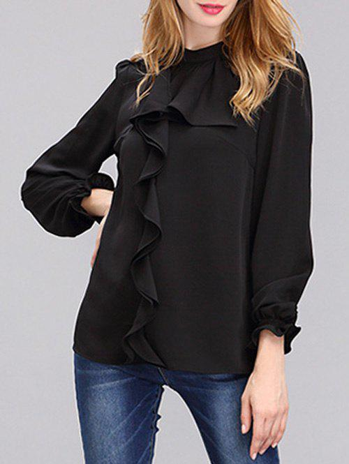 Fashionable Front Frilled Chiffon Blouse For Women - BLACK 2XL