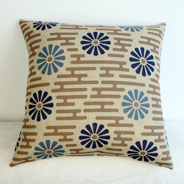 Stylish Flower Pattern Cotton Linen Pillow Case - COLORMIX