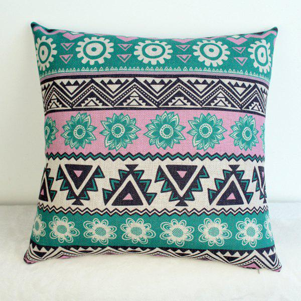 Stylish Floral Geometric Pattern Cotton Linen Pillow Case - COLORMIX