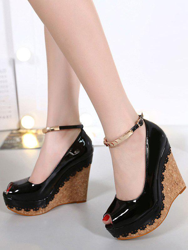 Chic Metal and Ankle Strap Design Women's Peep Toe Shoes - BLACK 38
