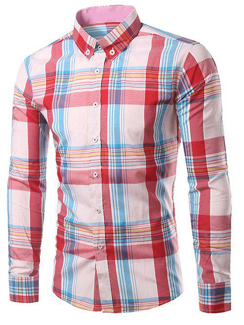 Classic Turn-Down Collar Long Sleeves Pink Plaid Shirt For Men
