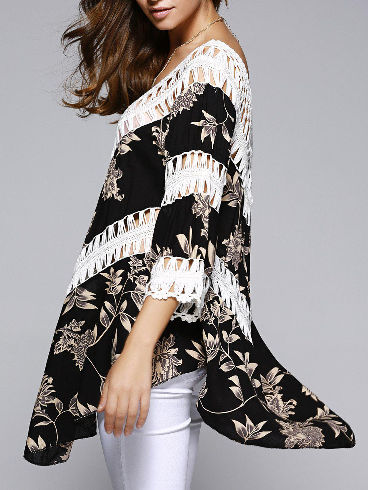 Ethnic Style Hollow Out Crochet Blouse For Women - BLACK ONE SIZE