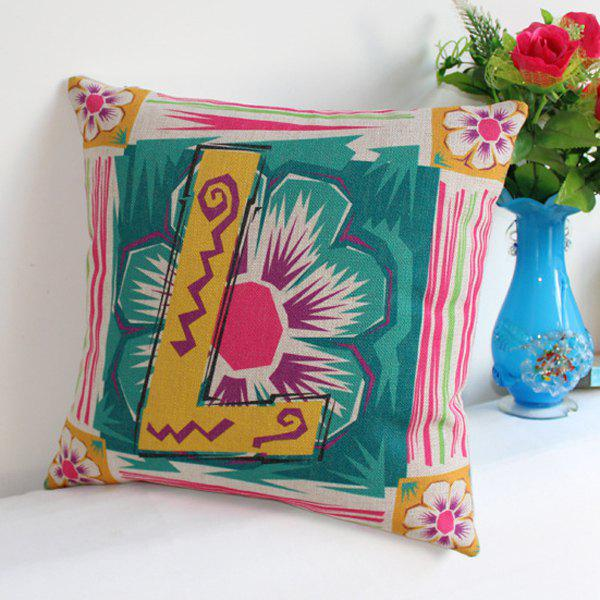 Stylish Flower Letter L Pattern Cotton Linen Pillow Case - COLORMIX