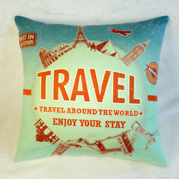 Stylish Travel Around The World Landmark Pattern Pillow Case - COLORMIX