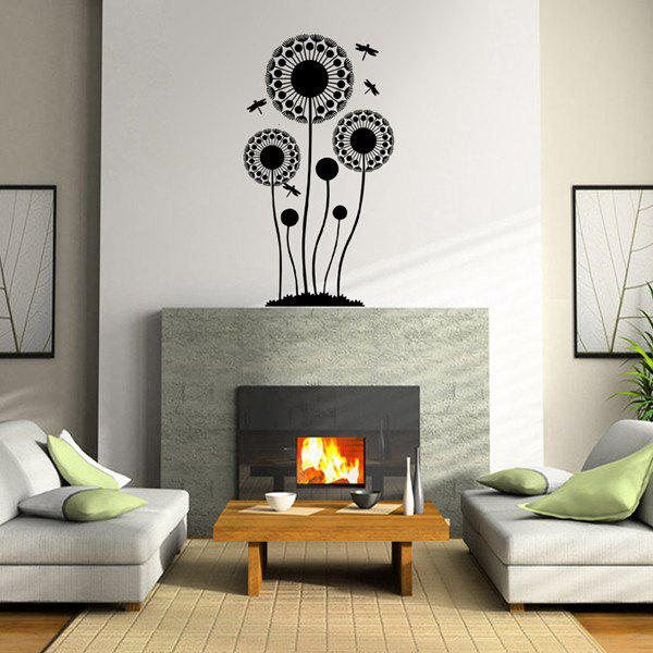 Chic Quality Waterproof Dandelion and Dragonfly Pattern Wall Sticker - BLACK