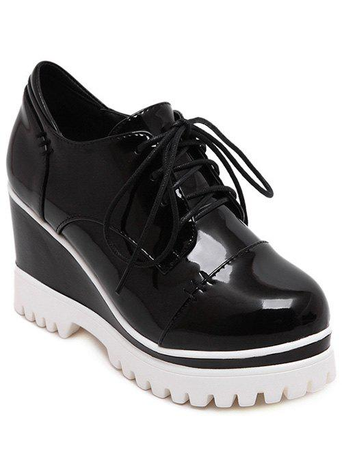 Chic Tie Up and Patent Leather Design Women's Wedge Shoes - BLACK 37