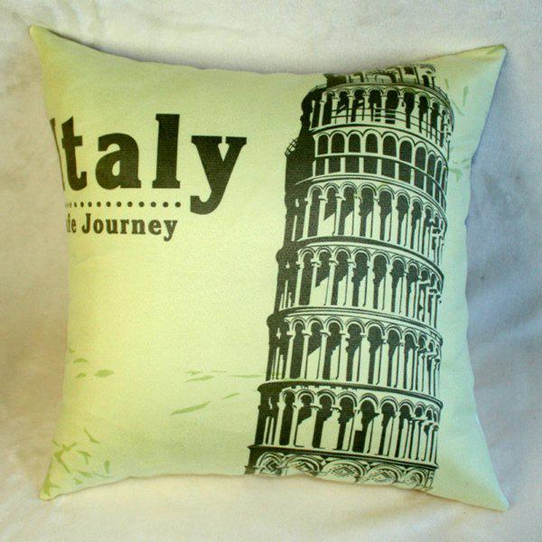 Stylish Italy Journey Leaning Tower of Pisa Landmark Pattern Pillow Case - COLORMIX
