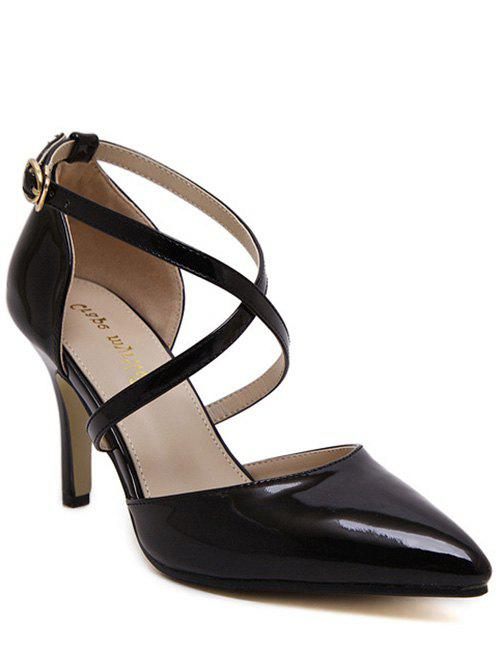 Office Style Cross Straps and Stiletto Heel Design Women's Pumps - BLACK 38