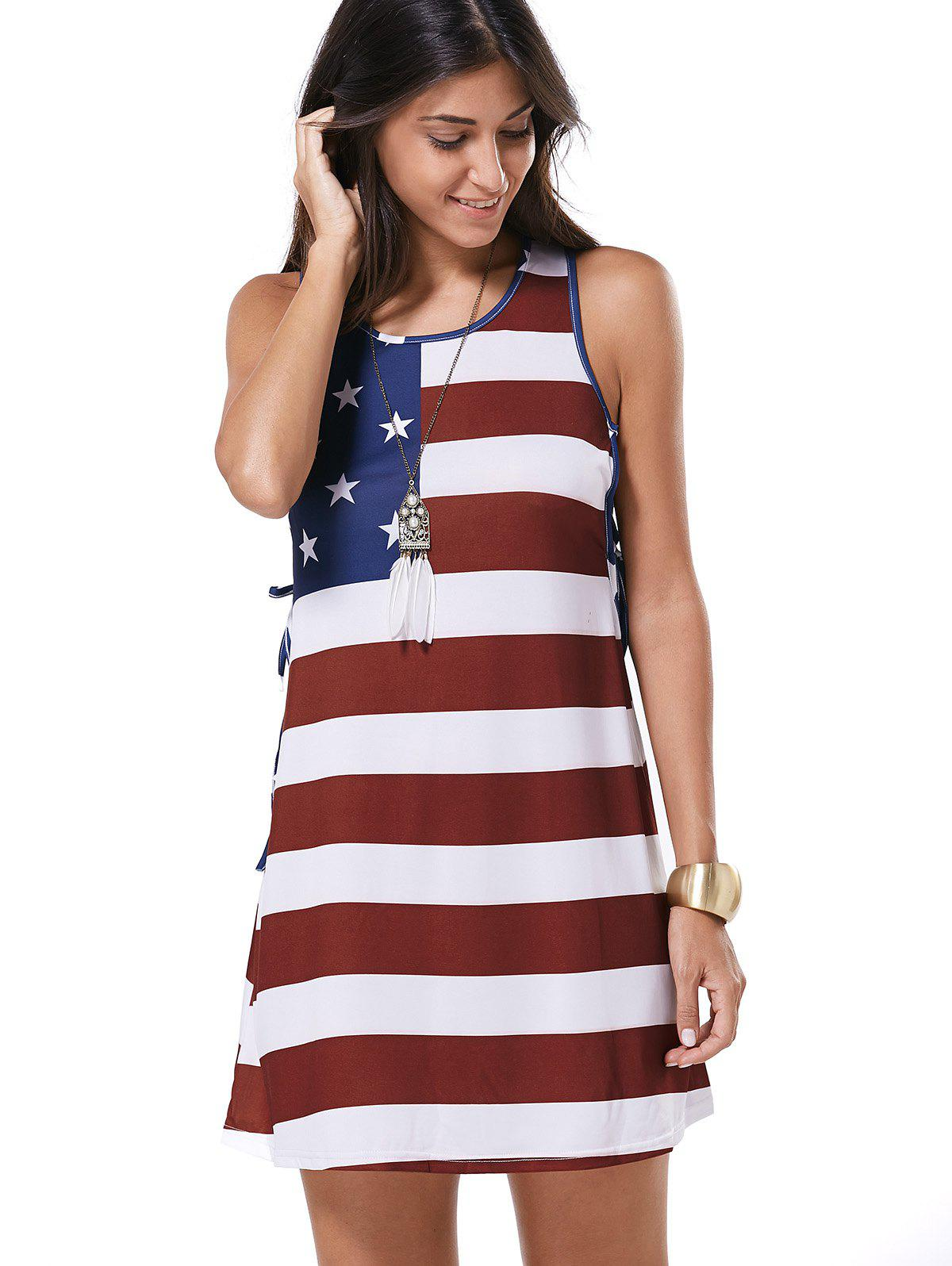 Scoop Neck Flag Pattern Tie-Up Casual Dress - WINE RED XL
