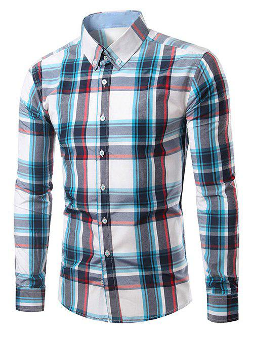 Classic Turn-Down Collar Long Sleeves Plaid Shirt For MenMen<br><br><br>Size: 4XL<br>Color: BLUE