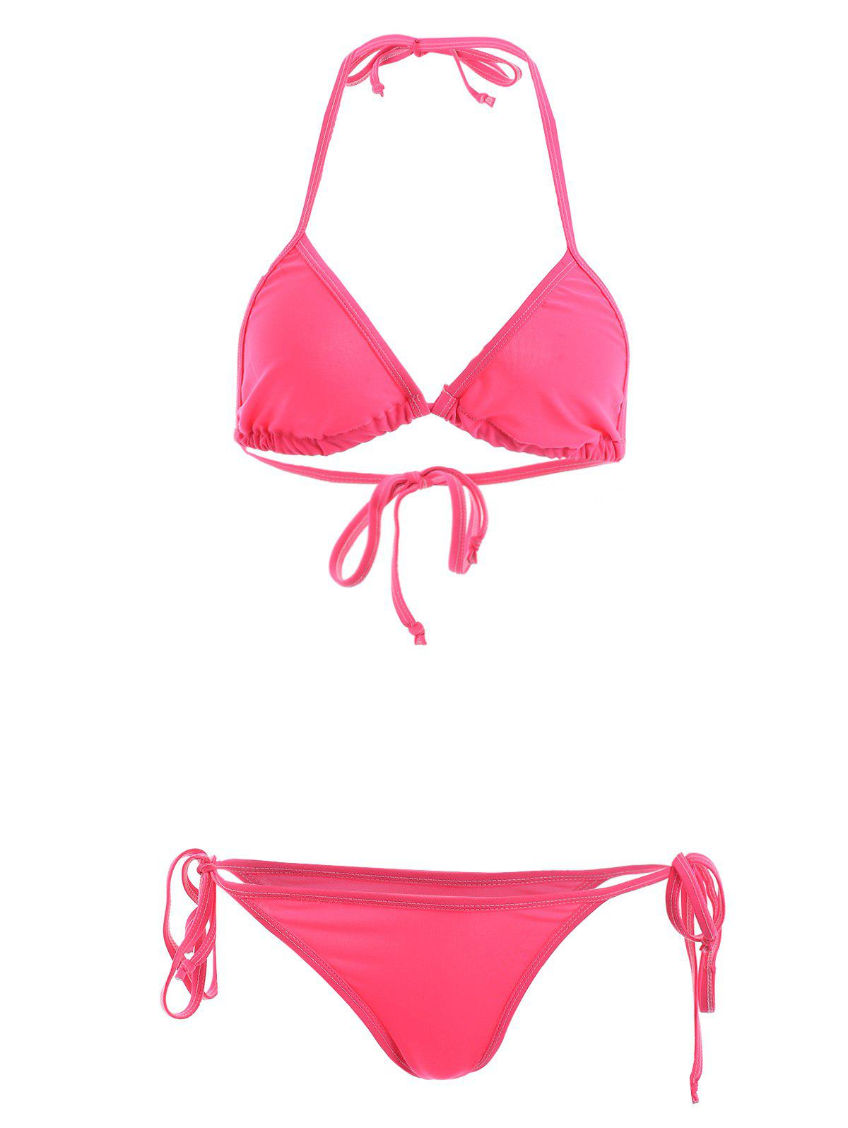 Stylish Women's Halterneck Solid Color String Bikini Set - WATERMELON RED L