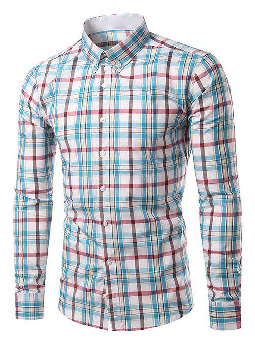 Classic Turn-Down Collar Long Sleeves Blue and Red Plaid Shirt For Men