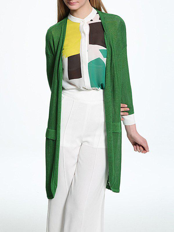 Candy Color Collarless Thin Cardigan - GREEN ONE SIZE