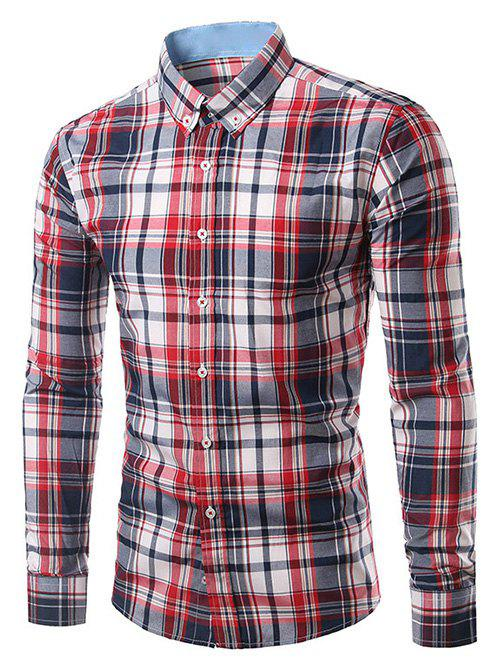 Classic Long Sleeves Red and Deep Blue Plaid Shirt For Men - BLUE/RED 4XL