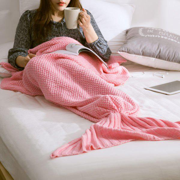High Quality Yarn Knitted Mermaid Tail Blanket - L PINK