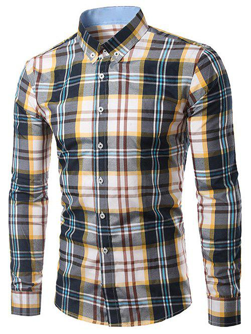 Classic Turn-Down Collar Long Sleeves Yellow and Black Plaid Shirt For Men - YELLOW/BLACK 4XL