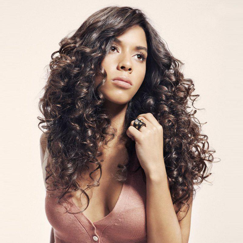 Elegant Long Curly Mixed Color Side Parting 100 Percent Kanekalon Synthetic Hair Wig For Women