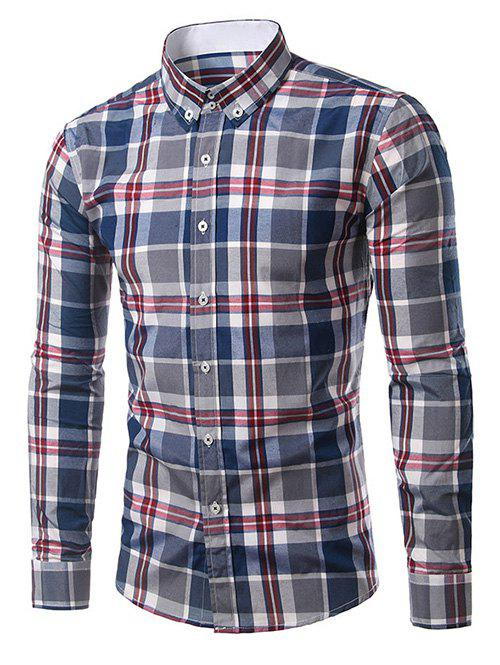 Classic Turn-Down Collar Long Sleeves Deep Blue Plaid Shirt For Men