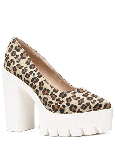 Trendy Flock and Platform Design Women's Pumps - LEOPARD 38