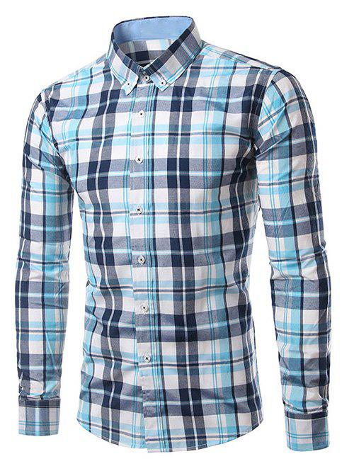 Classic Turn-Down Collar Long Sleeves Blue Plaid Shirt For Men - BLUE 4XL