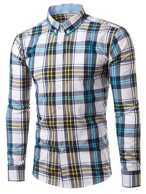 Classic Turn-Down Collar Long Sleeves Yellow and Blue Plaid Shirt For Men
