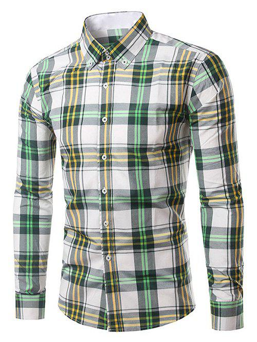 Classic Turn-Down Collar Long Sleeves Yellow and Green Plaid Shirt For Men - YELLOW/GREEN 4XL
