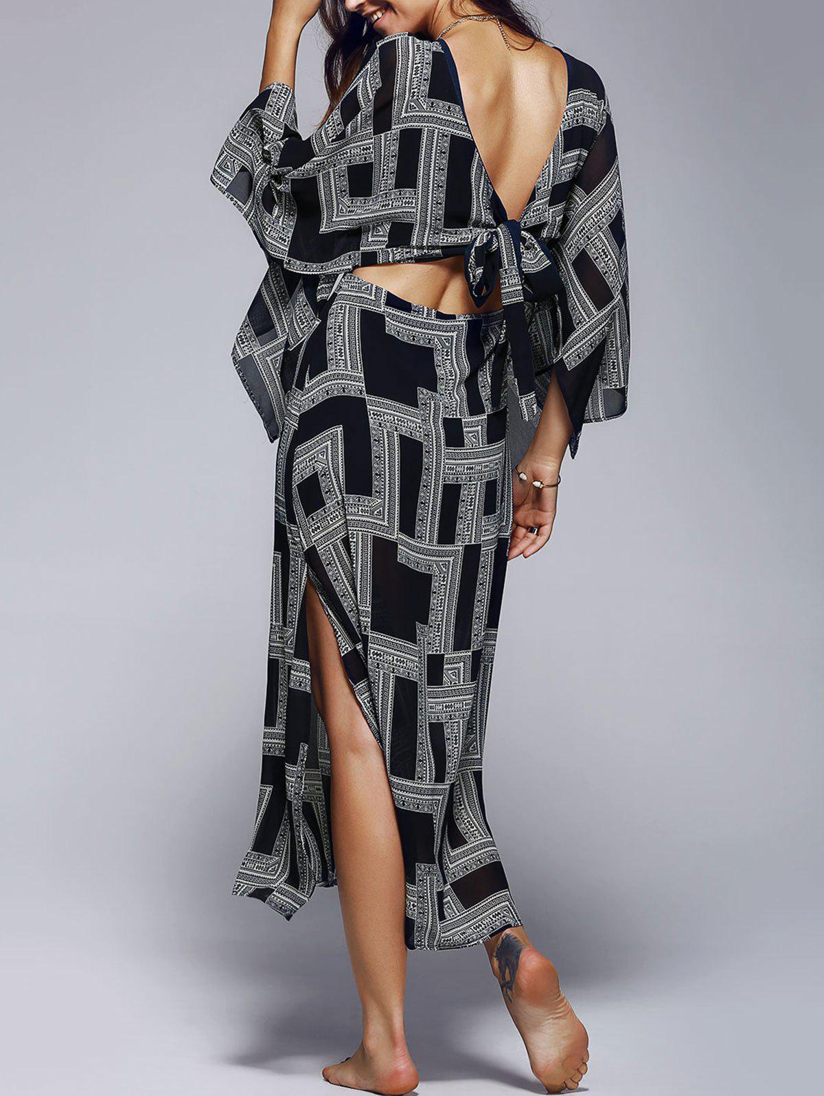 Ethnic Batwing Sleeve Convertible Top and Printed Skirt For Women - BLACK M