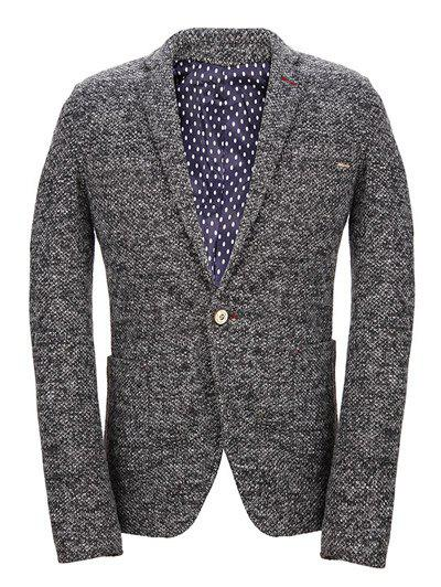 One Button Knitting Vintage Lapel Long Sleeve Men's Blazer