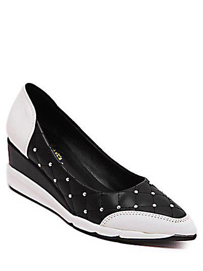 Stylish Rivets and Argyle Pattern Design Women's Wedge Shoes