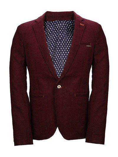 One Button Knitting Polka Dot Lining Lapel Long Sleeve Men's Blazer - DEEP RED 2XL