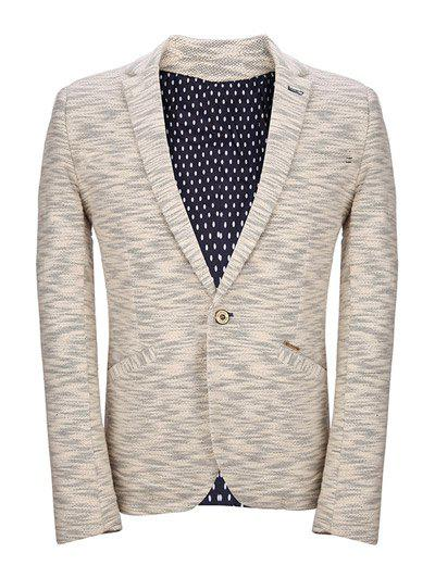 One Button Knited Polka Dot Lining Lapel Long Sleeve Men's Blazer - BEIGE 2XL