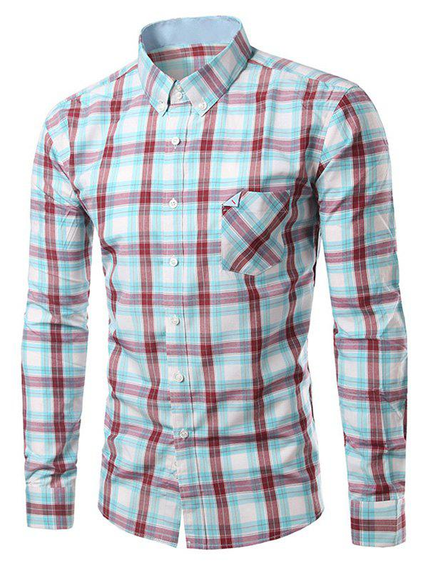 Chic Folded Pocket Long Sleeves Light Blue and Red Tartan Shirt For Men